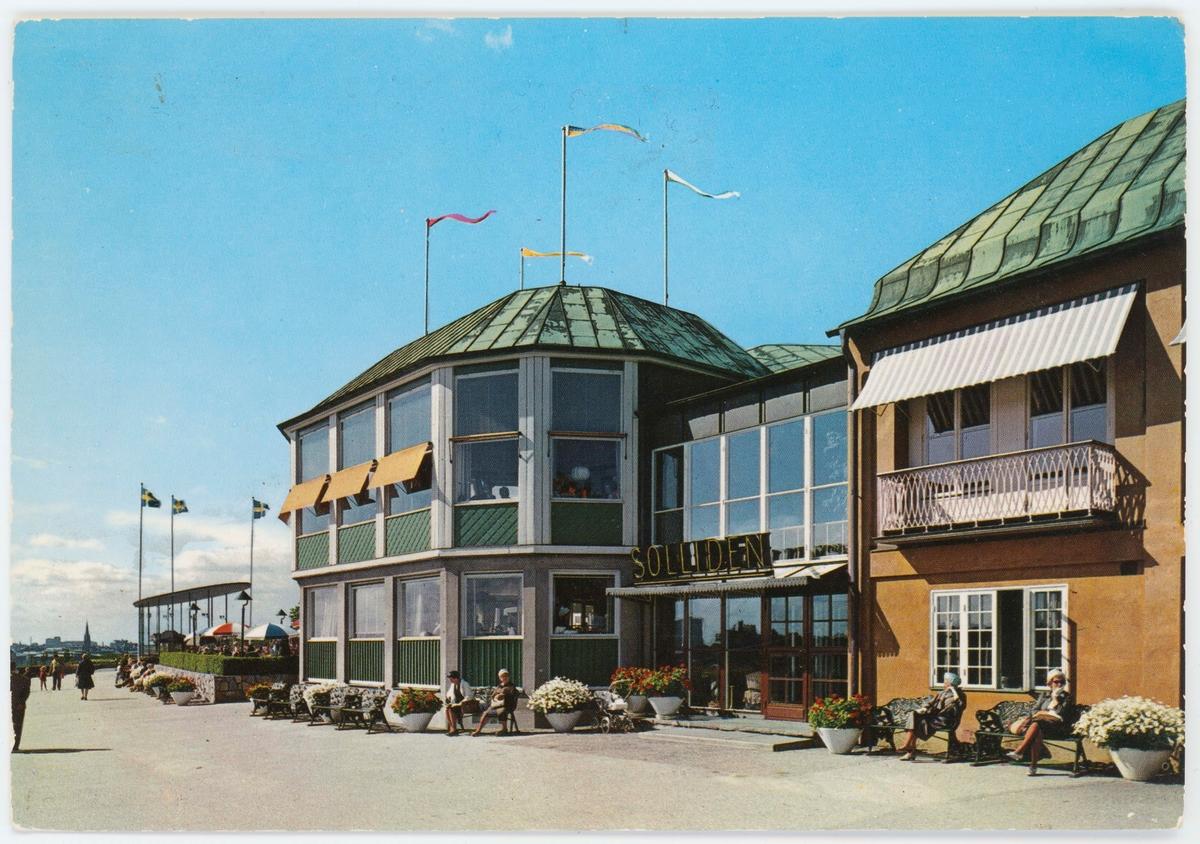 Vykort med motiv från Skansen. Restaurang Solliden.