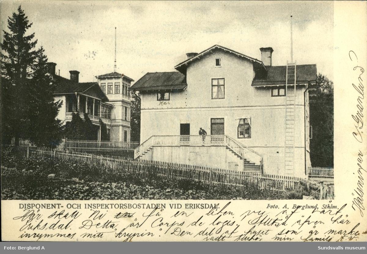 Vykort med motiv över disponent- och inspektorsbostaden vid Eriksdal på Alnö.