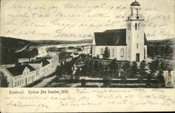 Vykort med motiv över Sundsvall före stadsbranden 1888 och d