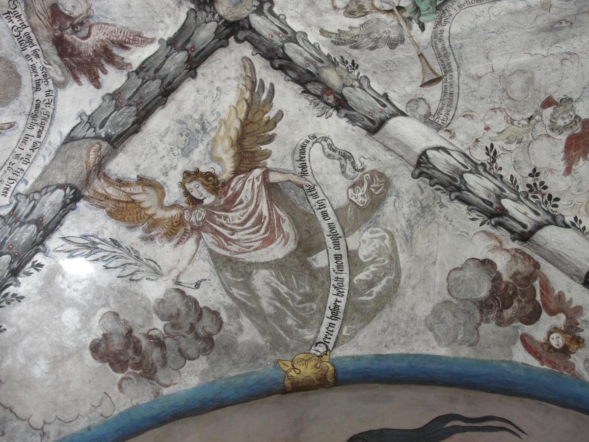 Kalkmålning i valvet över det braheska gravkoret i Brahekyrkan på Visingsö, Jönköpings kommun.