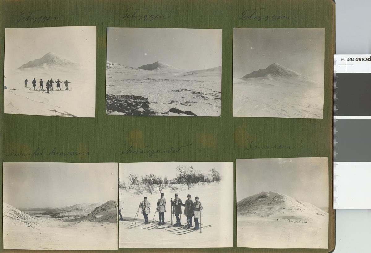 """Text i fotoalbum: """"Färden öfver Snasahögarna. Arriärgardet""""."""