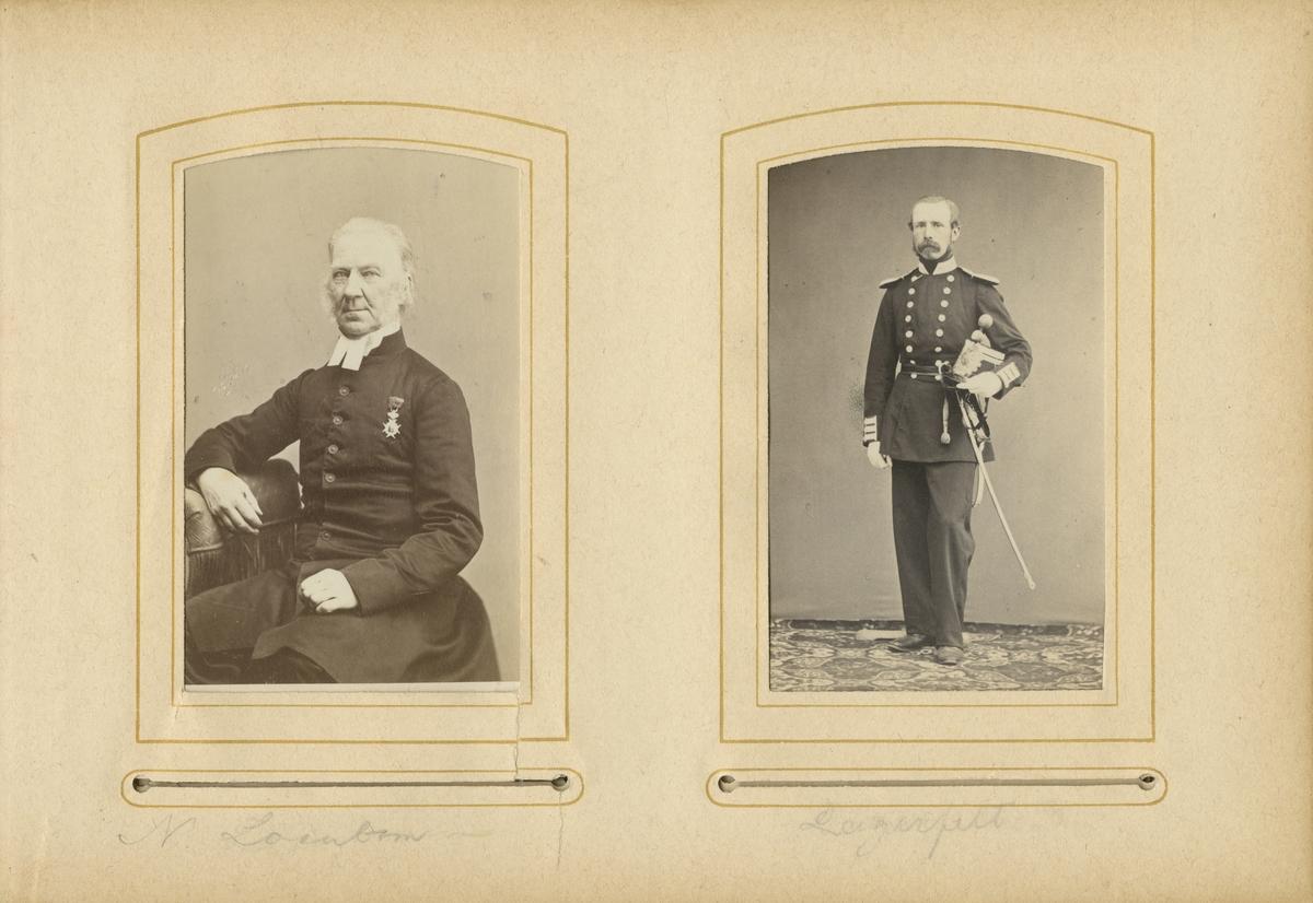 Porträtt av Nils Samuel Loenbom, regementspastor vid Andra livgrenadjärregementet I 5.  Se även bild AMA.0001942 och AMA.0001990.