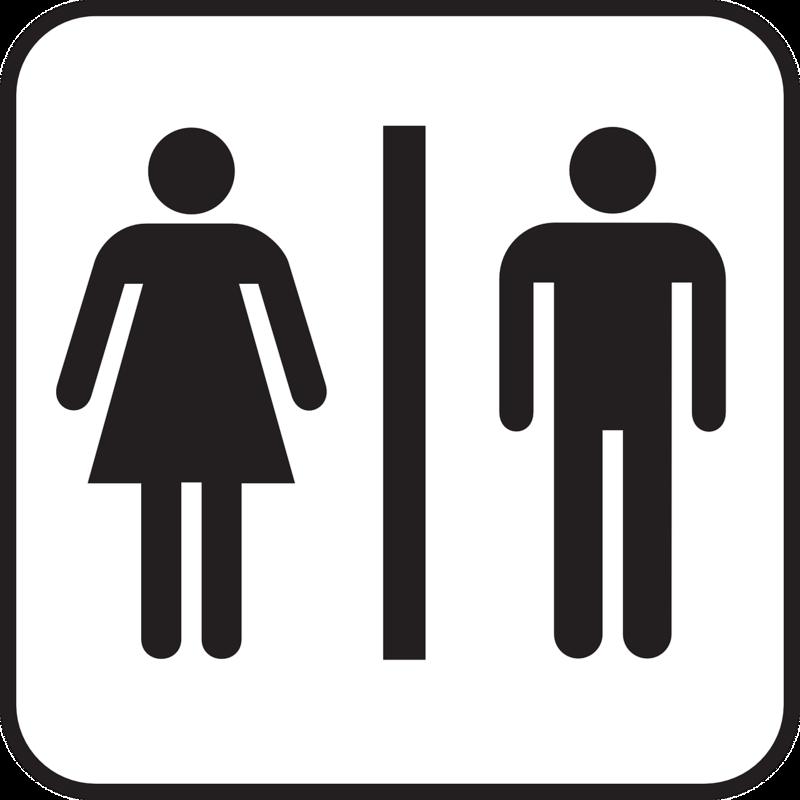 Toalettskilt; hvit bakgrunn og symbol for dame og mann i svart, atskilt med en svart strek