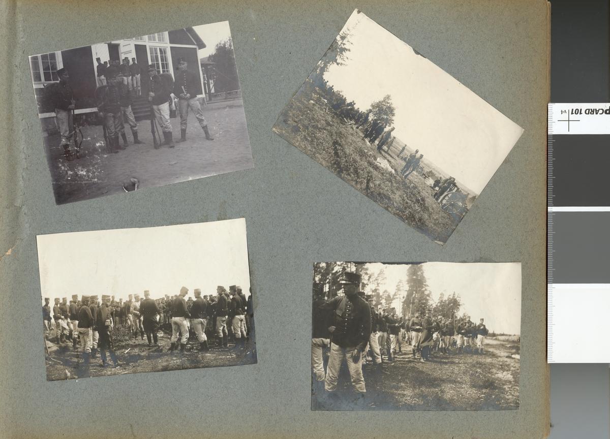 Soldater från Fortifikationen utanför byggnad, Laxön 1902.