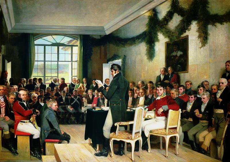 Eidsvold 1814 av Oscar Wergeland (1844 – 1910). Malt 1884 – 1885. Stortinget / Stortingets kunstsamling.