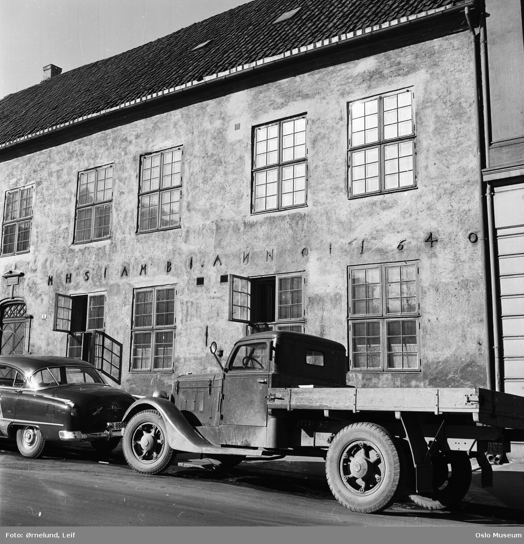 bygård, Waisenhuset, lastebil, bil