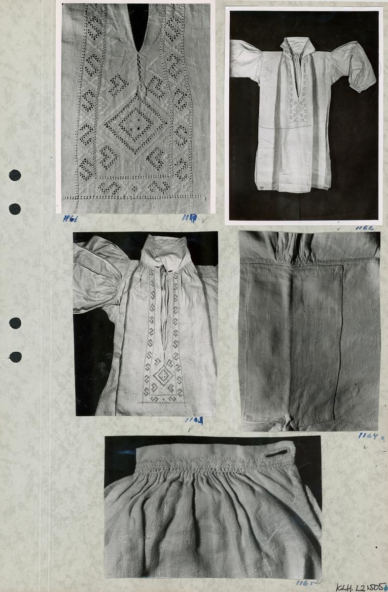 Kartongark med fem foton av brudgumsskjorta.