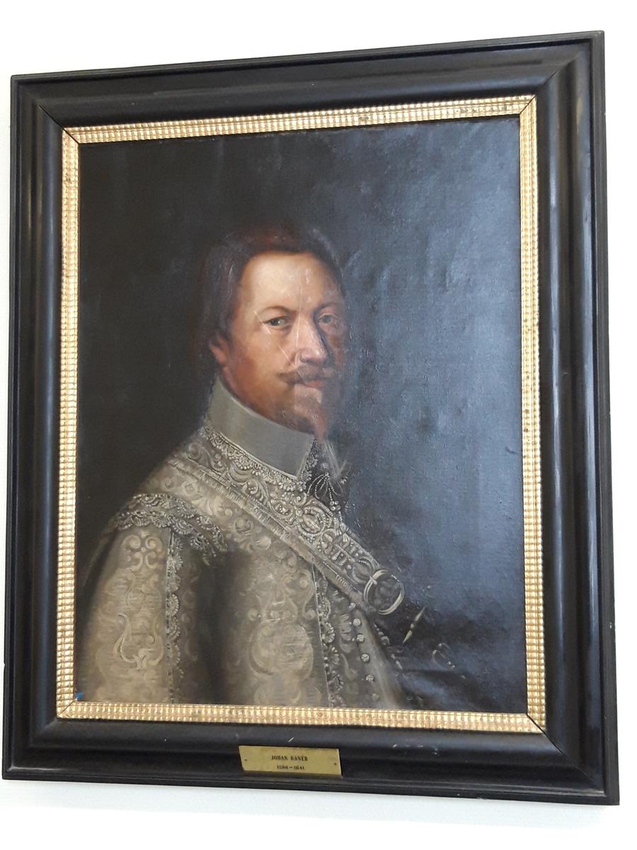 Porträtt av Johan Banér, modern kopia. Olja på duk, svart ram. Okänd konstnär, kopia.