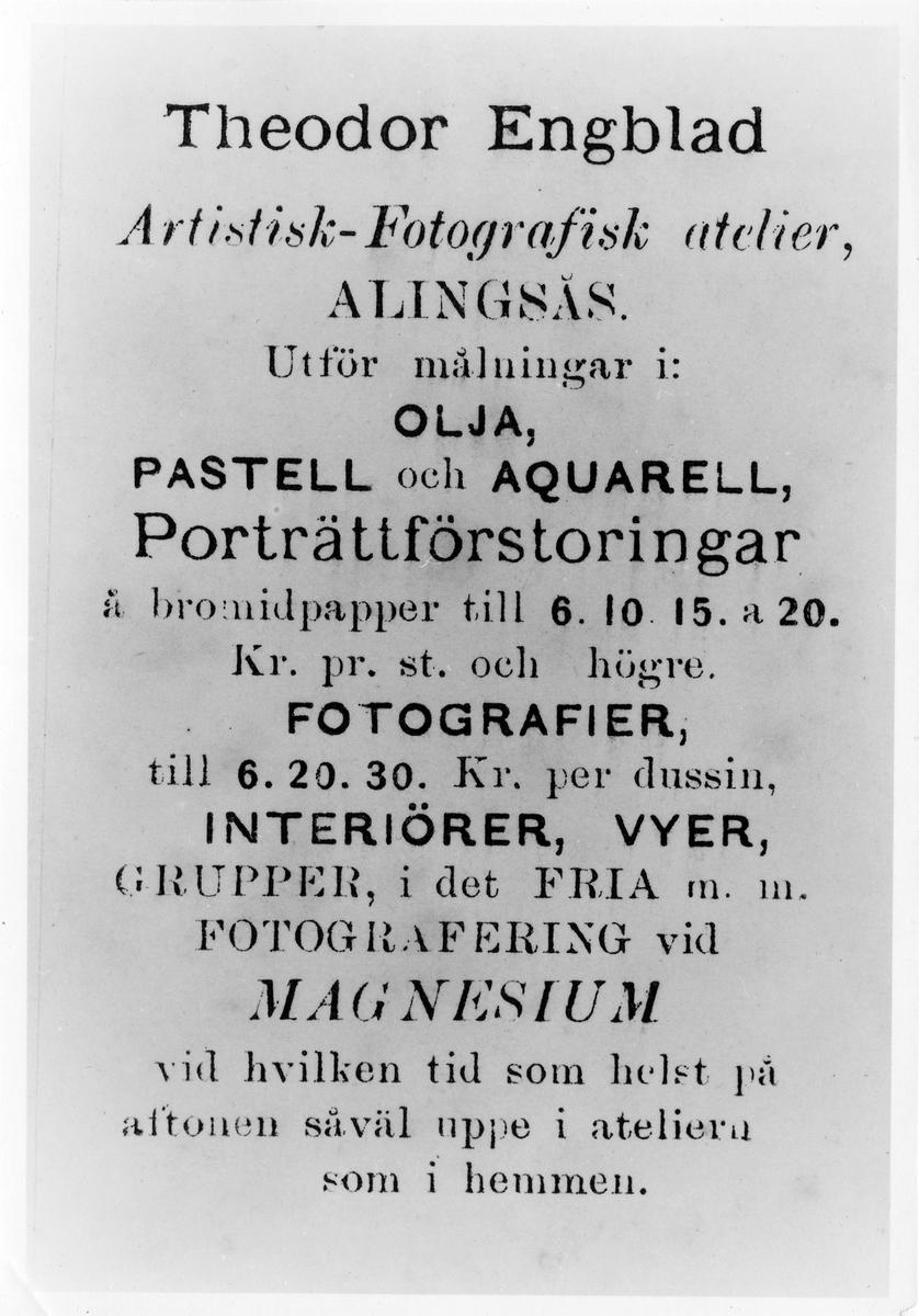 Baksidan av ett visitkort tillhörande Theodor Engblad, artist och fotograf.