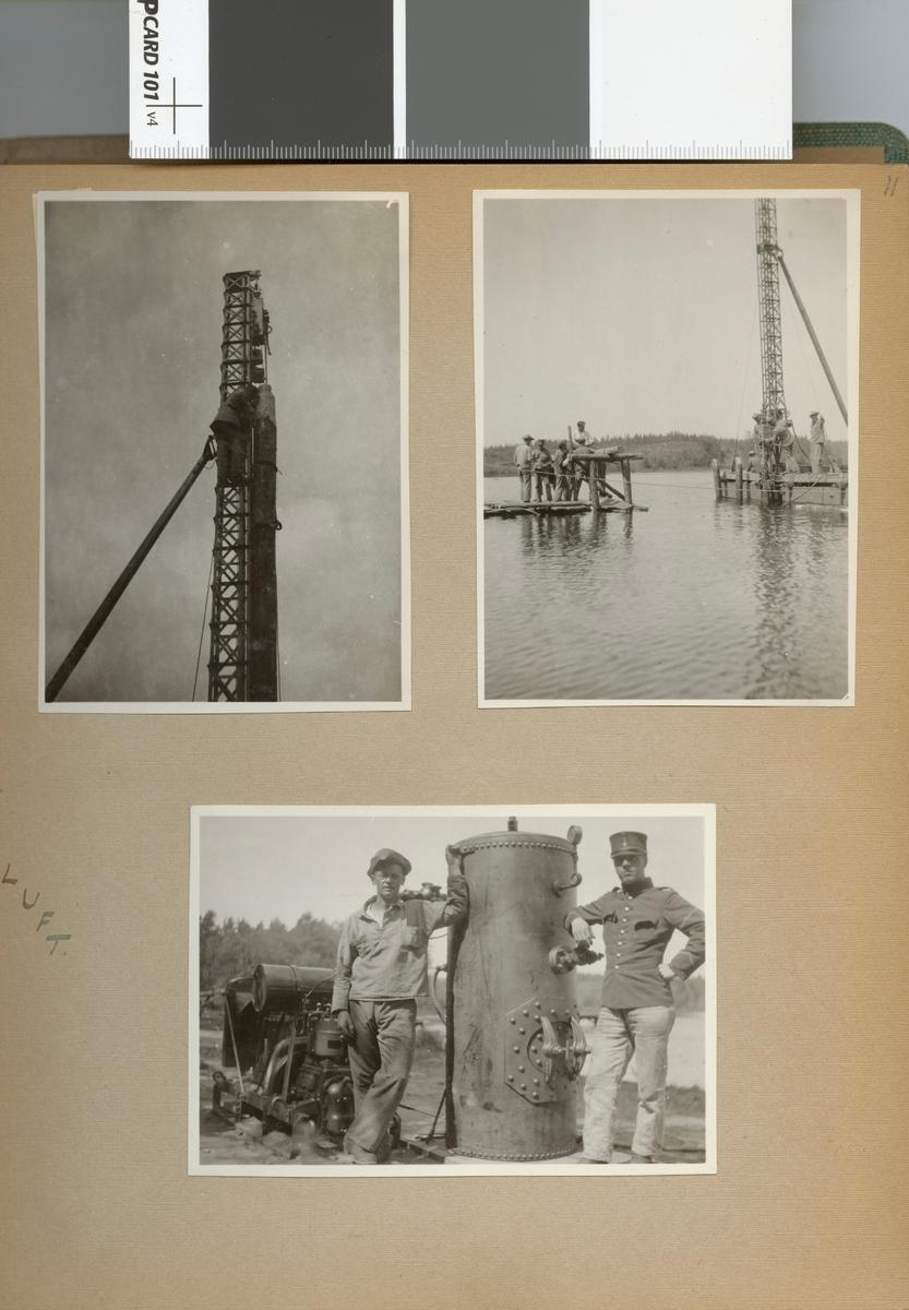 """Text i fotoalbum: """"Sommaren 1929. Fältbro vid Bjälmen. Pålkran."""""""