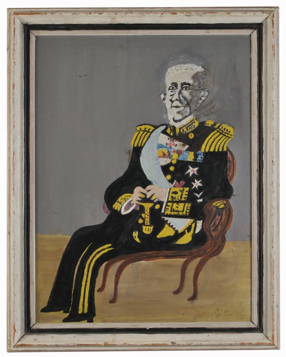 Oljemålning på duk, naiv målning föreställande Gustav V, av Carl Johan Carlsson, kallad Hofmålaren.