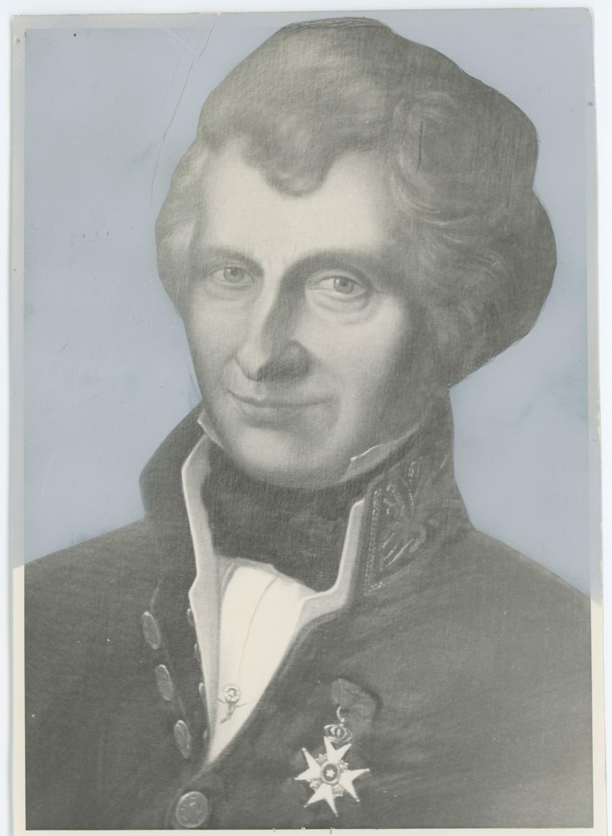Gregers Winther Wulfsberg (1780-1846), byfoged i Moss 1811, Eidsvoll-mann 1814, amtmann i Smaalenene fra 1831. Tegning, ukjent årstall.