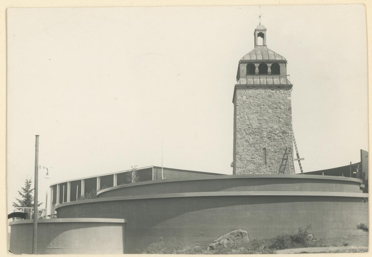 Postkort. Mosseutstillingen 1937, under bygging med Bytårnet.