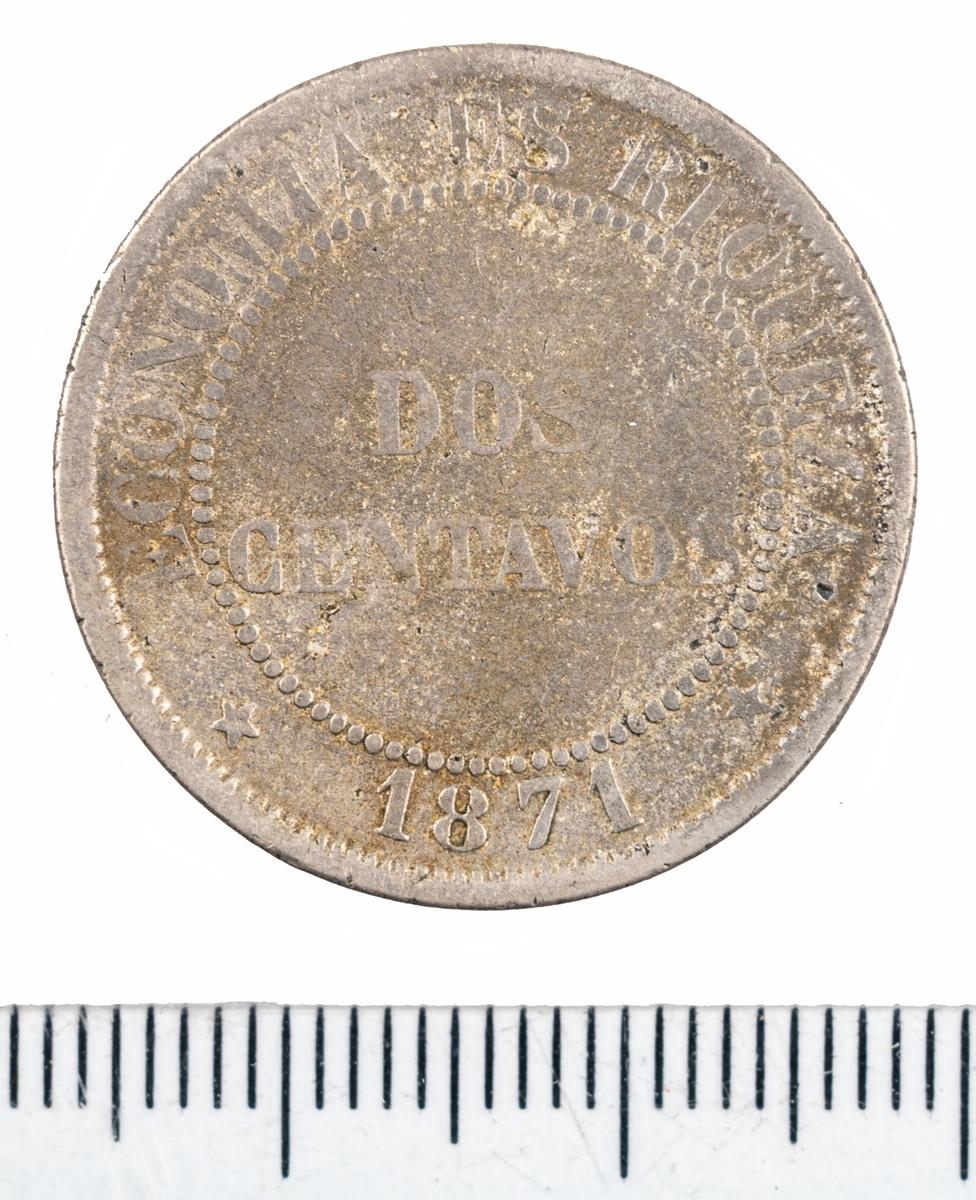 Mynt, Chile, 1871, 2 centavos.