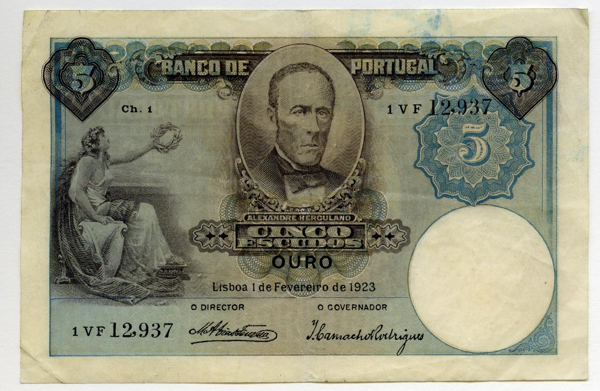 5 Escudos 1923 nödsedel Portugal.  Nr: 1 VF 12.937