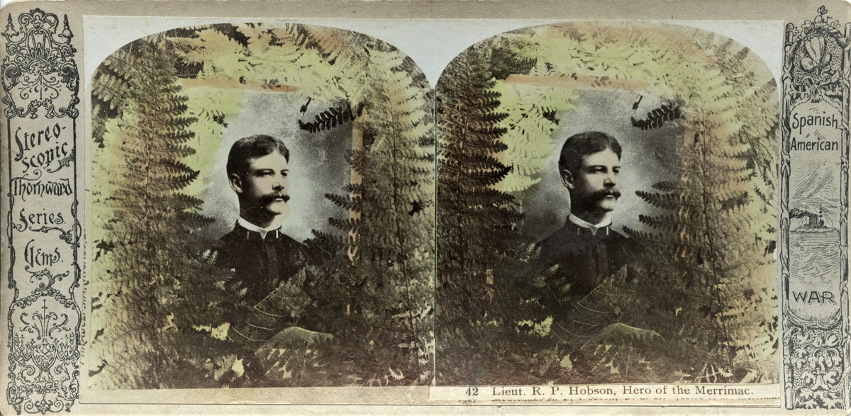 Stereofotografi av den amerikanske løytnanten Richmond Pearson Hobson, som oppnådde heltestatus under den spansk-amerikanske krigen i 1898.