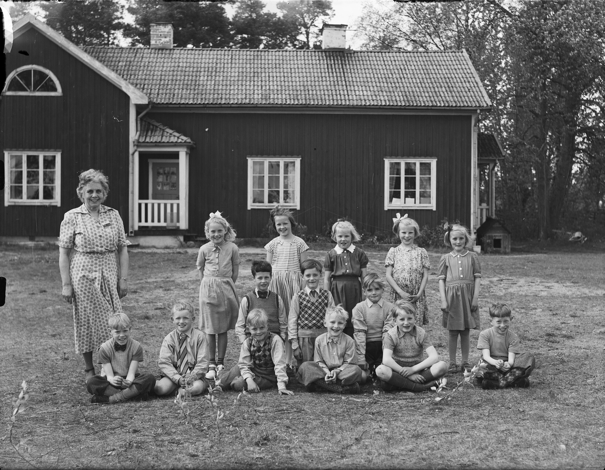 Skolklass, Yttersby småskola, Börstils socken, Uppland