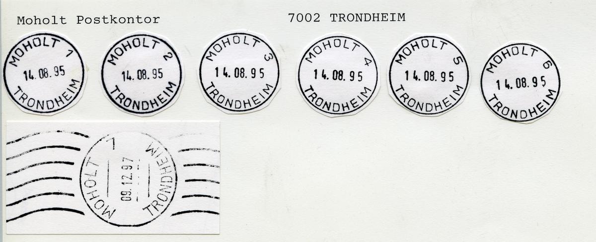 Stempelkatalog  Moholt, Trondheim kommune, Sør-Trøndelag (Moholtan,Moholt studentby. Moholt fra 14.8.1995)