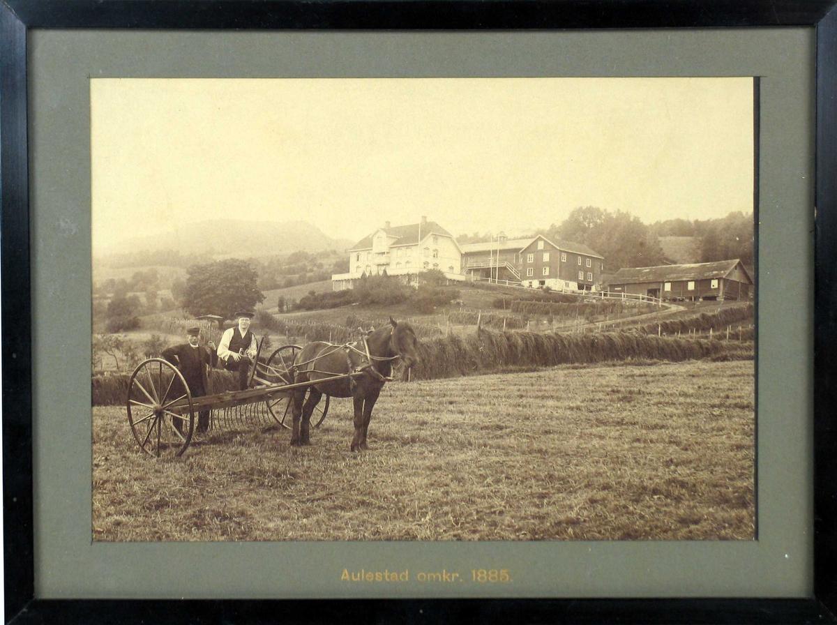 Høyonn på Aulestad; hesjer, hest med høyrive og to menn.
