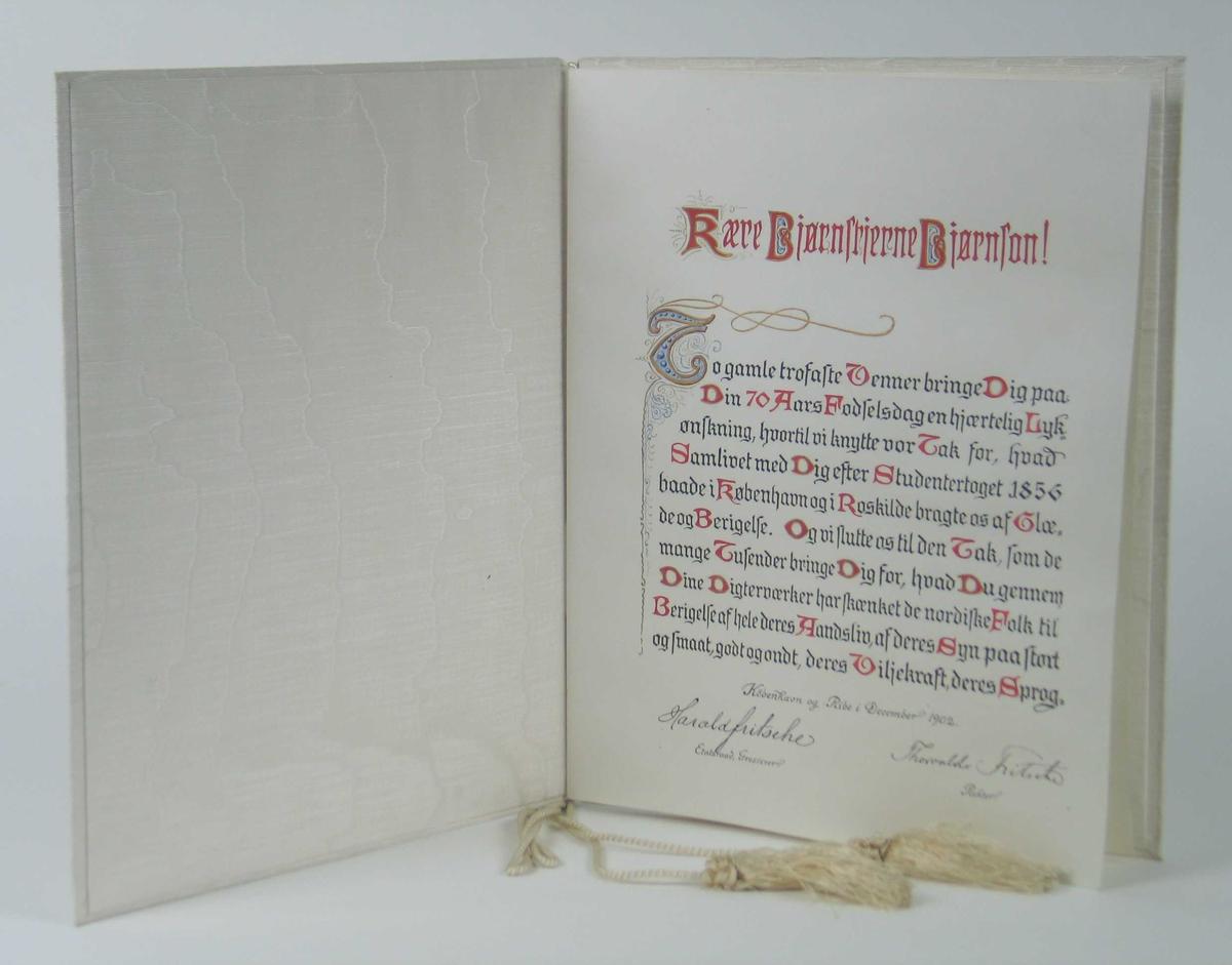Hilsen skrevet med gotiske bokstaver i svart og rødt. Den er innbundet i hvit ripssilke med snor og silkedusker.