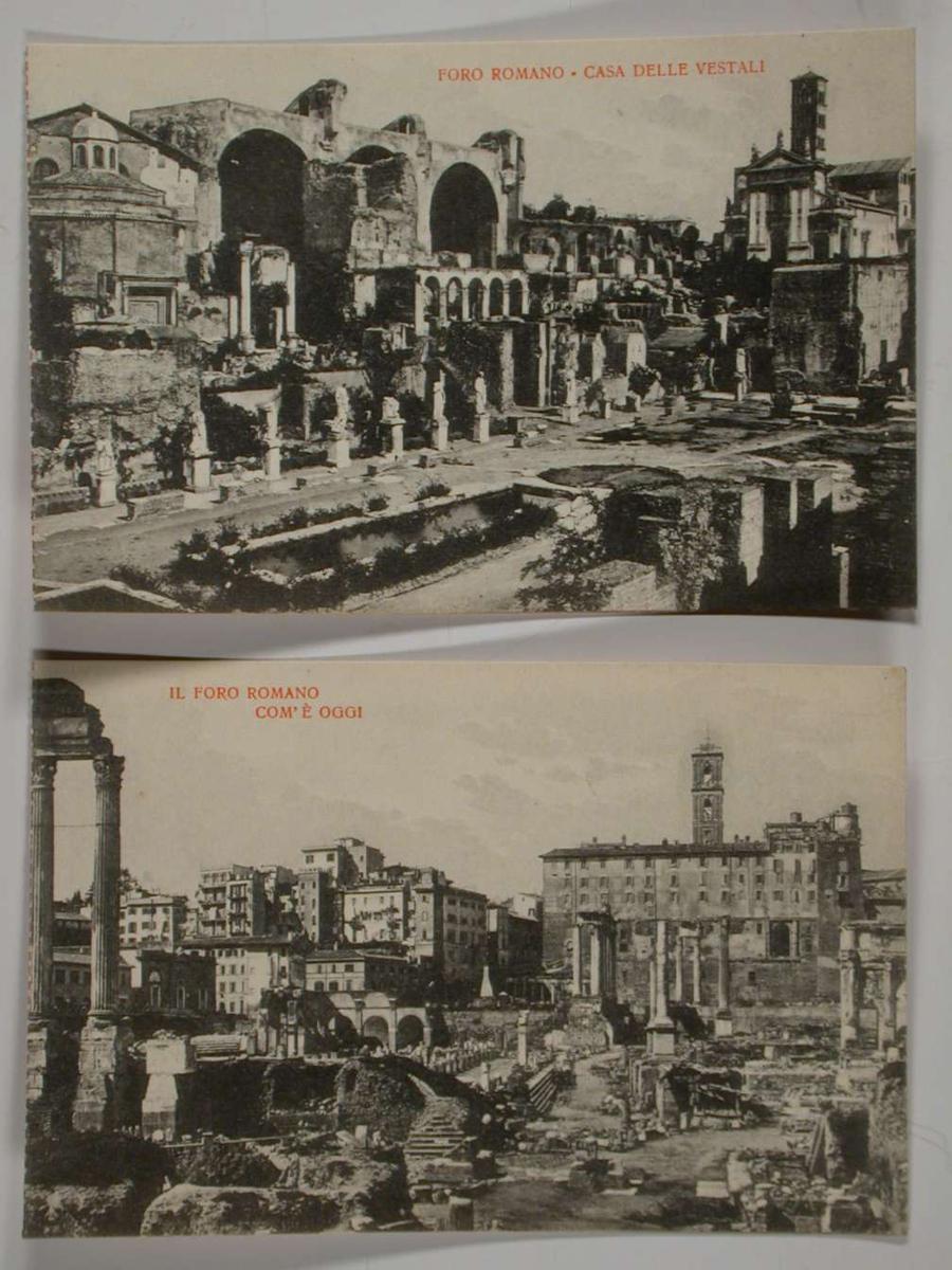 Et album med sort/hvite postkort fra Roma. Motivet utenpå albumet er fra Forum Romanum. Postkortene kan rives løs fra albumet. Tre av kortene er løse. Kortene er adskilt med silkepapir.