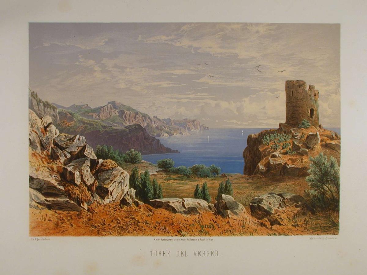 Ruin av et tårn med sjø og klippelandskap