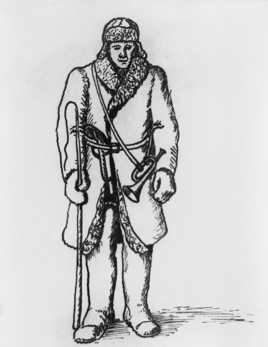tegning, postfører, etter tegning av Ragnv. Sødal