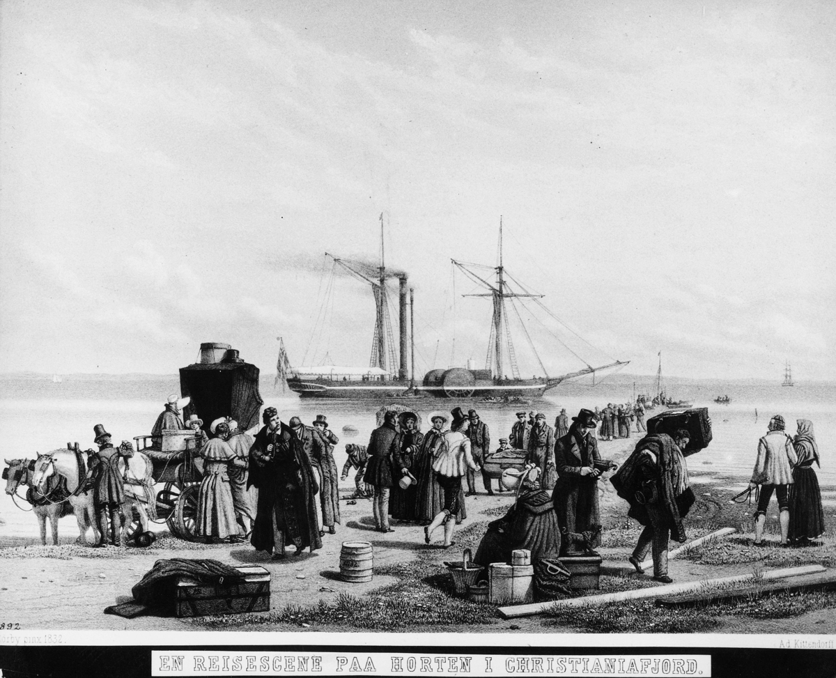 foto av tegning, Horten, reisescene, båt, hester, kjerre, mennesker, reisegods