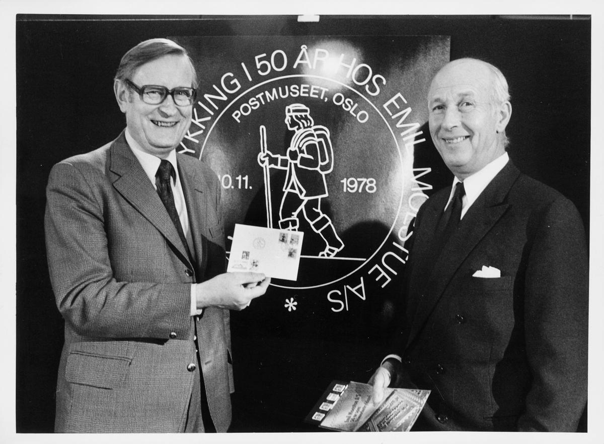 frimerketrykning, Emil Moestue A/S, 50 år, frimerketrykking, frimerkeutstilling, Dronningensgate 15, Oslo, 4. etasje, Ragnvald Rustung Bru, 1 mann, førestedagsbrev
