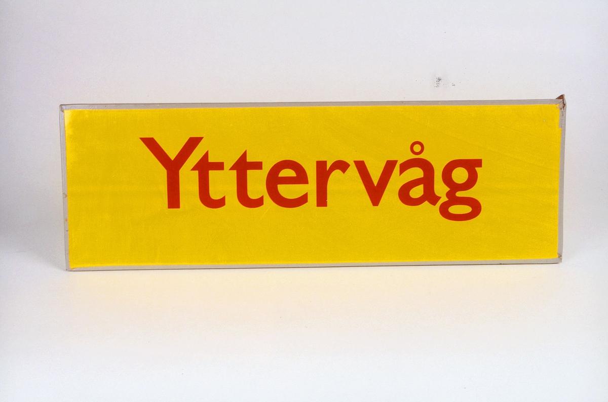 Postmuseet, gjenstander, skilt, stedskilt, stedsnavn, Yttervåg.