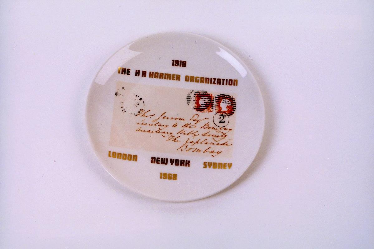 postmuseet, gjenstander, platte, frimerkeplatte, mauritiusmerkene, The Hr Harmer organization 1918, London, New York, Sydney 1968