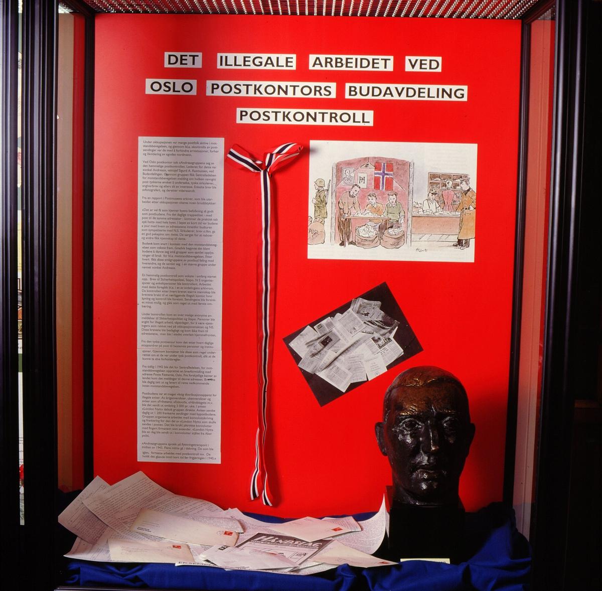 postmuseet, Kirkegata 20, utstilling, frigjøringsjubileet, 8. mai 1995, det illegale arbeidet ved Oslo postkontors budavdeling, postkontroll, byste