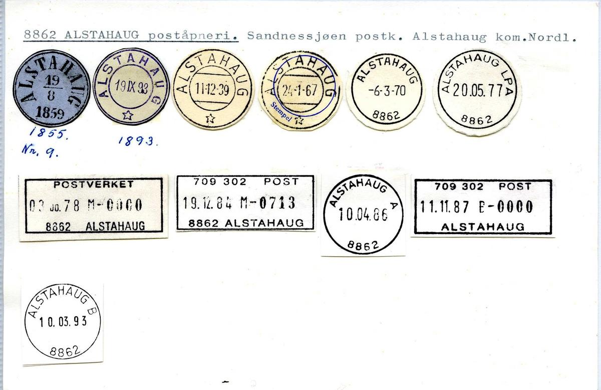 Stempelkatalog, 8862 Alstahaug,  Sandnessjøen, Nordland, Alstahaug, Nordland