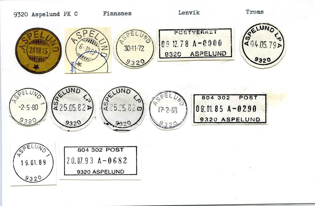Stempelkatalog, 9320 Aspelund Pk C. Finnsnes. Lenvik. Troms.