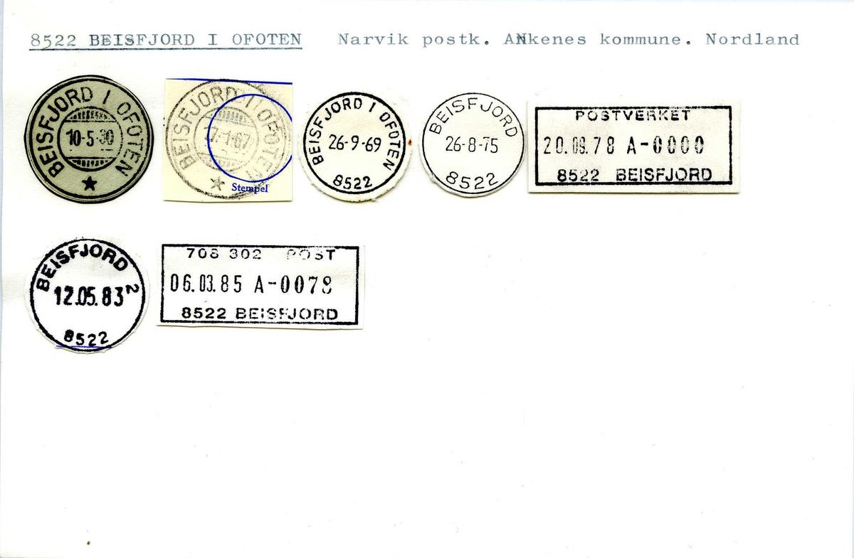 Stempelkatalog 8522 Beisfjord i Ofoten, (Beisfjord), Narvik, Ankenes, Nordland