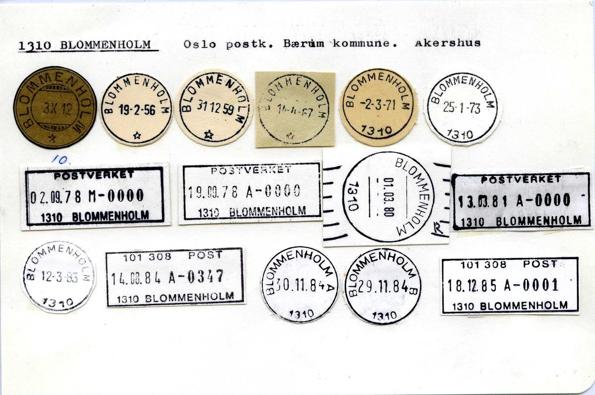 Stempelkatalog. 1310 Blommenholm, Oslo postk., Bærum kommune, Akershus