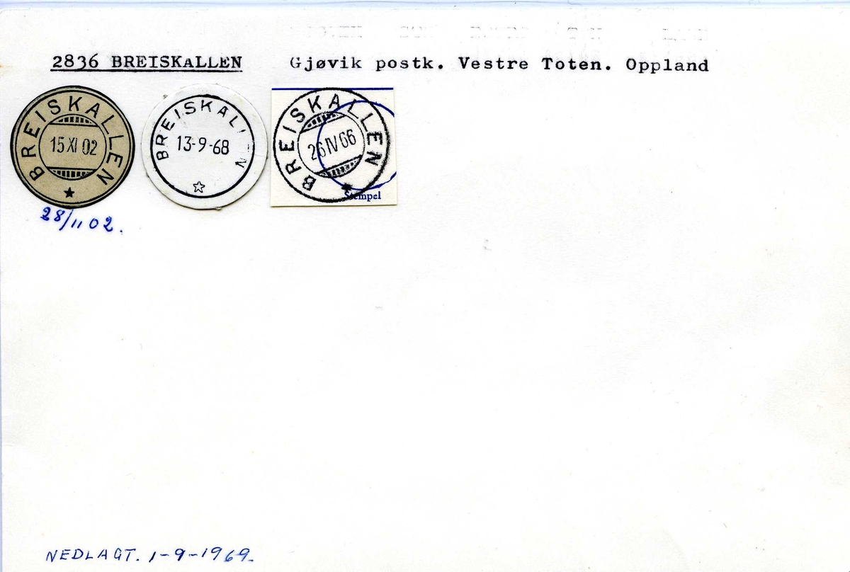 Stempelkatalog,  2836 Breiskallen, Gjøvik postk., Vestre Toten, Oppland