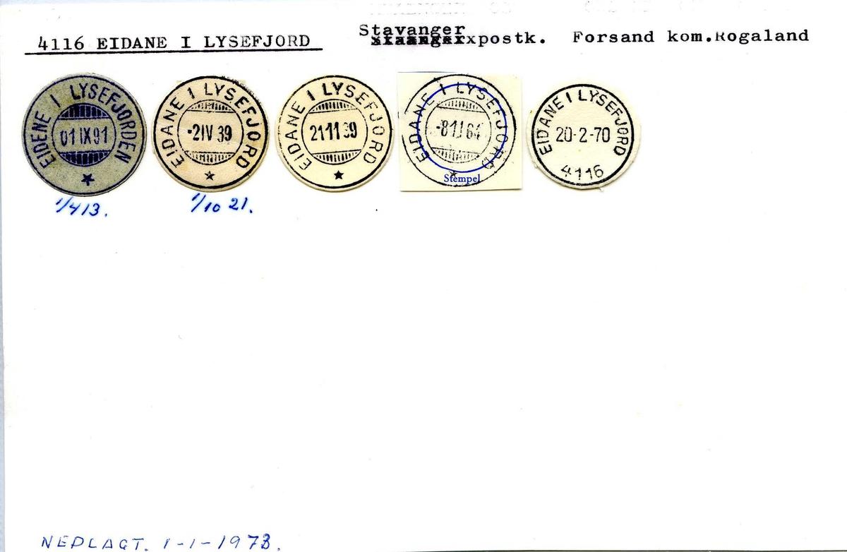 Stempelkatalog, 4116 Eidane i Lysefjord, Stavanger postk., Forsand komm. Rogaland