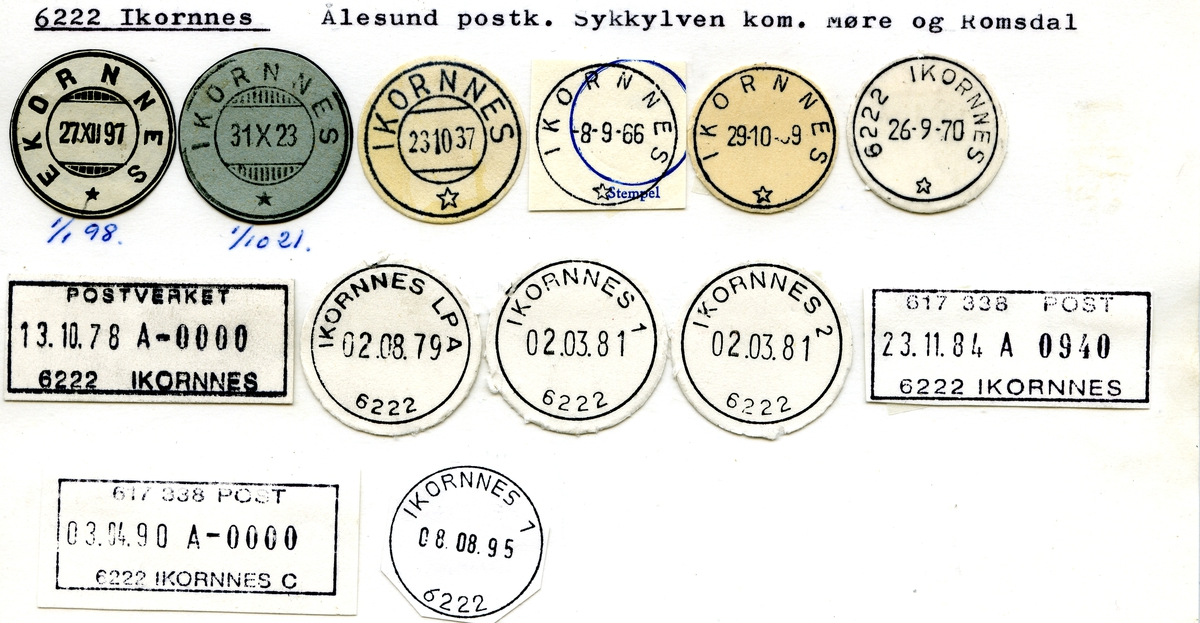 Stempelkatalog.6222 Ikornnes. Ålesund postkontor. Sykkylven kommune. Møre og Romsdal fylke.