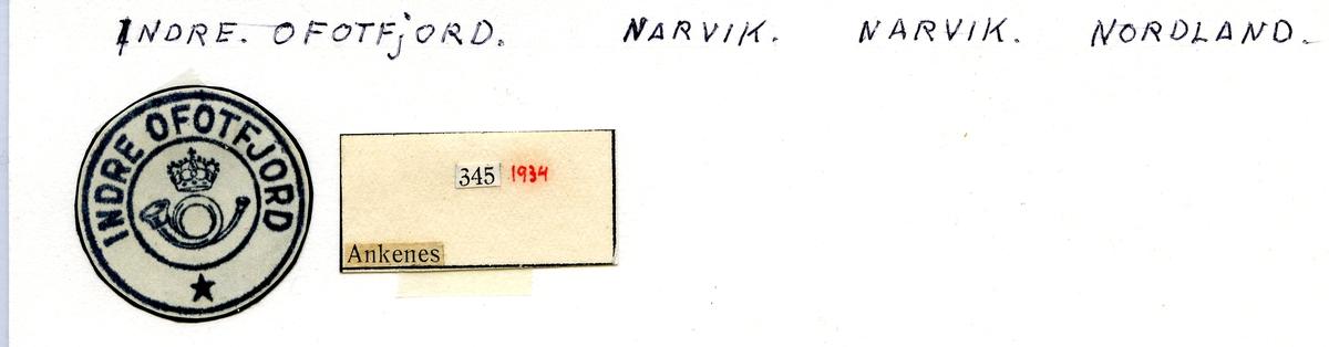 Stempelkatalog. Indre Ofotfjord. Narvik postkontor. Narvik kommune. Nordland fylke.