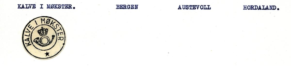 Stempelkatalog.Kalve i Møkster, Bergen, Austevoll kommune, Hordaland