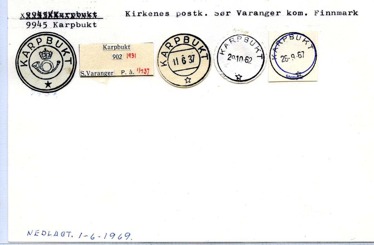 Stempelkatalog  9945 Karpbukt, Sølr Varanger kommune, Finnmark