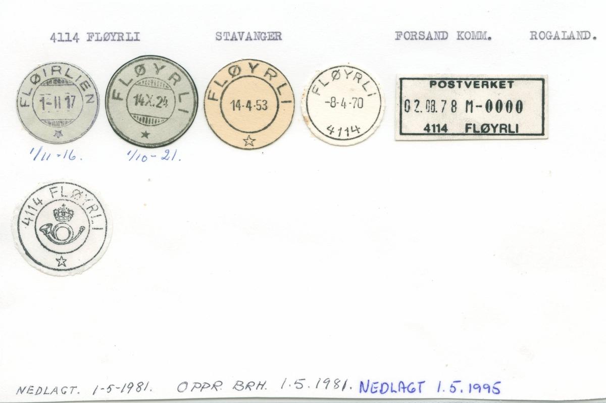 Stempelkatalog 4114 Fløyrli, (Fløirlien), Forsand, Rogaland