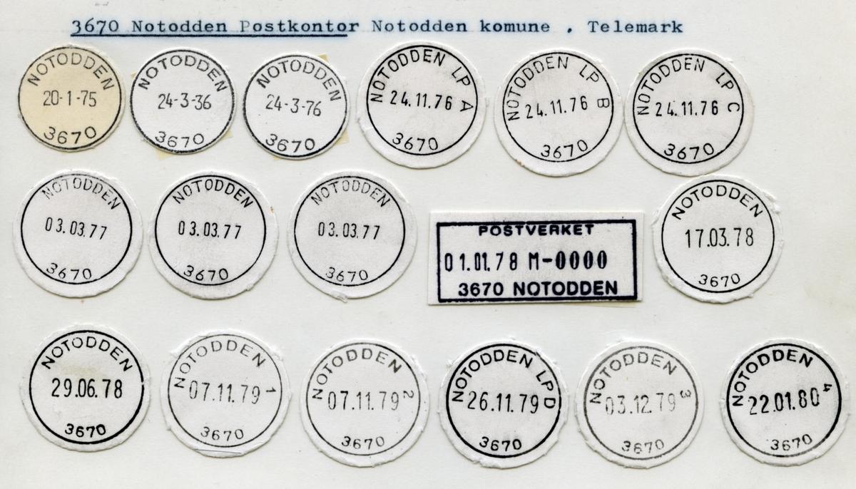 Stempelkatalog  3670 Notodden, Notodden, Telemark