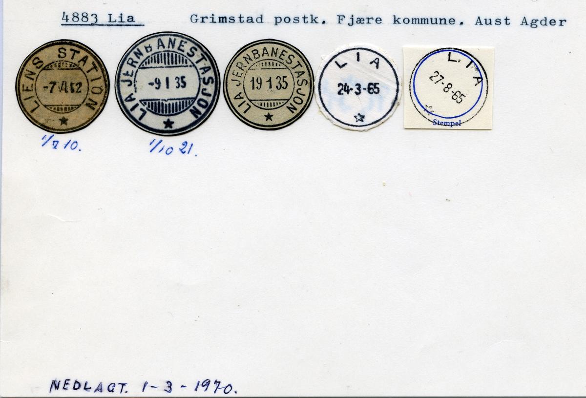 Stempelkatalog 4883, Lia (Liens station, Lia jernbanestasjon), Grimstad, Fjære, Aust-Agder