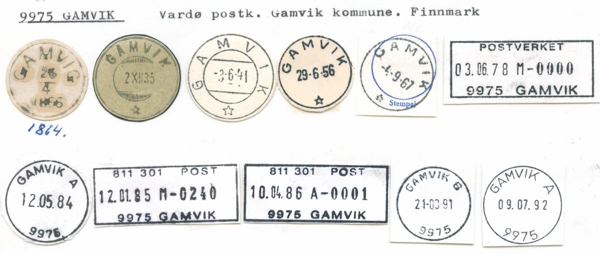 Stempelkatalog 9975 Gamvik, Vardø, Gamvik, Finnmark
