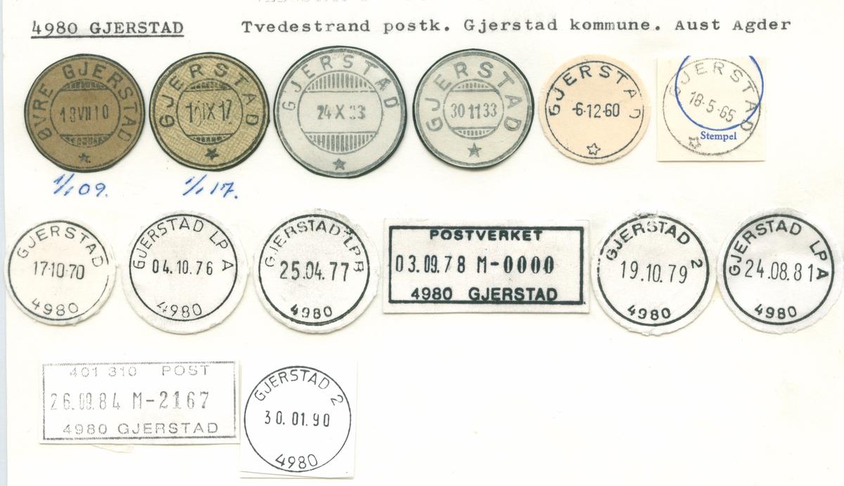 Stempelkatalog 4980 Gjerstad (Øvre Gjerstad), Gjerstad, Aust-Agder