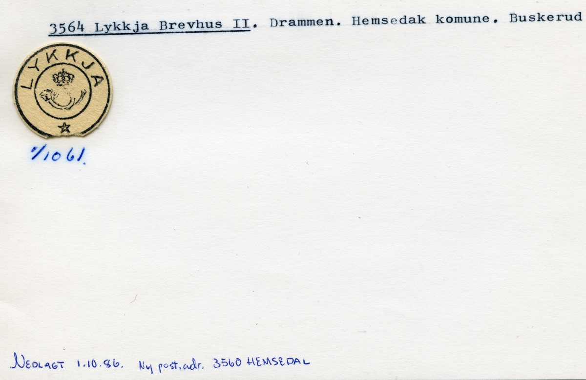 Stempelkatalog, 3564 Lykkja, Drammen, Hemsedal kommune, Buskerud
