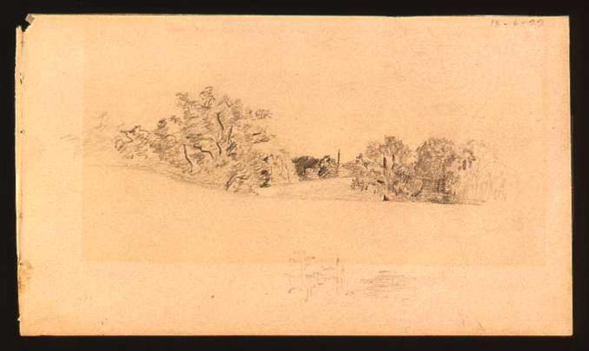 Landskap med trær og et lite hus i bakgrunnen.