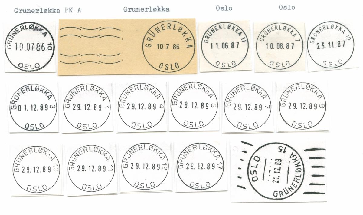 Stempelkatalog Grünerløkka (Kristiania G, Kristiania Grünerløkken, Oslo Grünerløkken, Oslo Grünerløkka, Oslo G) , Oslo